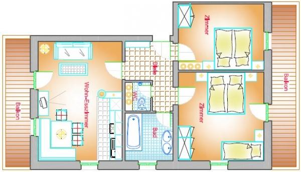 Wohnung Typ A2 70 m²