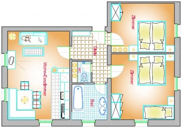 Wohnung Typ A3 70 m²