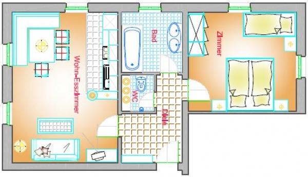 Wohnung Typ B1 60 m²