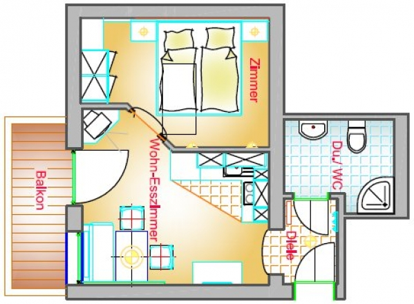 Wohnung Typ C1 40 m²