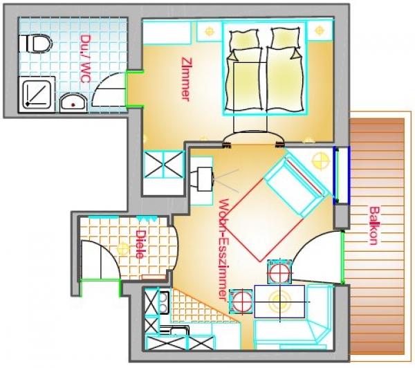 Wohnung Typ C2 40 m²