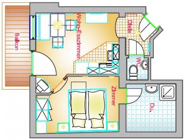 Wohnung Typ C3 40 m²